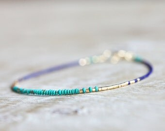 Turquoise and lapis lazuli bracelet - 14 kt gold filled jewelry - gifts for her