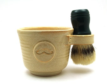 Cream Mustache Shaving Mug, Moustache Husband Gift for Men by MiriHardyPottery - Brush NOT Included - Ready to Ship