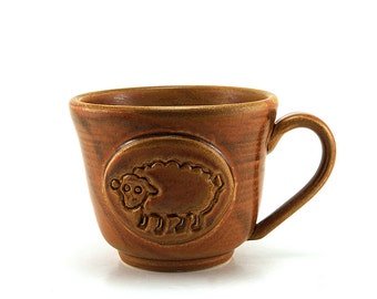 Sheep Pottery Coffee Mug:  Brown Ceramic Cup, Handmade Gift for Her by MiriHardyPottery Ready to Ship