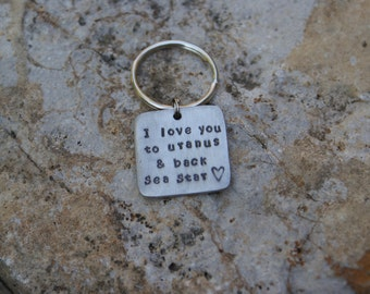 Pewter square handstamped personalized key chain