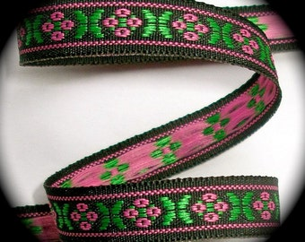 """Woven Ribbon 3/8"""" x 5 yards ,  - Made in Switzerland - Black, Pink and Green Floral"""