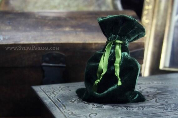 Velvet gift bag - green dark forest velvet mini gift wrapping bag - 4x6 inches