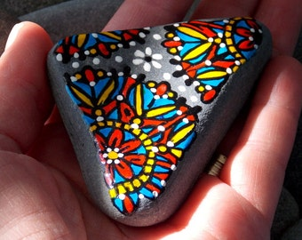Sacred Triangle / Painted Rock / Sandi Pike Foundas / Cape Cod Sea Stone