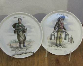 "Two Paris  Plates One ""Marchand di Leaux Ferres"" and th other "" Portuer D Eau"""