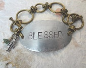 "Hand Stamped ""BLESSED"" Bracelet with Sterling Silver Cross and Turquoise Dangle"
