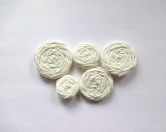 Ivory Fabric Rosettes Embellishment