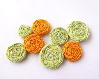 SALE Yellow and Orange Fabric Rosettes Embellishment