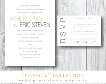Pinnacle Collection | Modern Lines Wedding Invitation Suite | Printable or Printed by Darby Cards