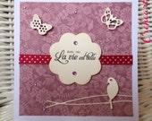 "Handmade Card Vintage Flower ""Avec toi la vie est belle""  - Bird, Rhinestones, Creheart"