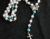 Full 59 bead Catholic Rosary - Turquoise, White Faux Pearls, Silver Butterfly Centerpiece