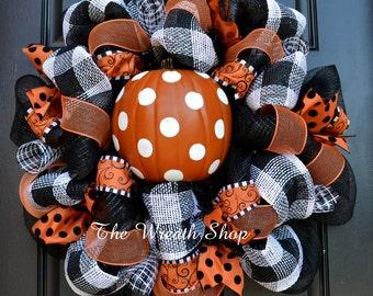 Polka Dot Pumpkin Halloween Wreath - Black White and Orange Halloween Wreath