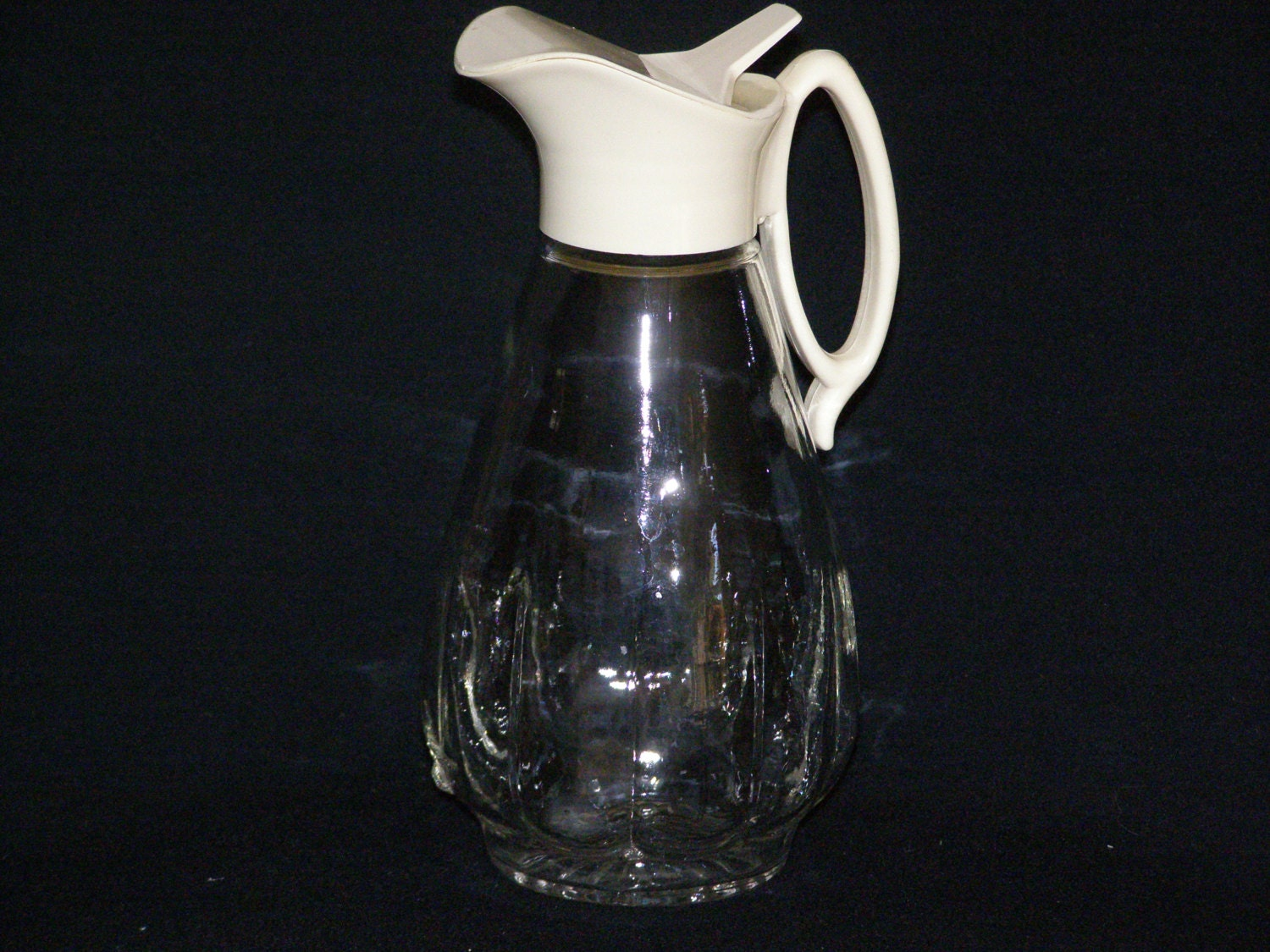 Vintage Glass Syrup Pitcher With White Plastic Lid Hmmmmmm