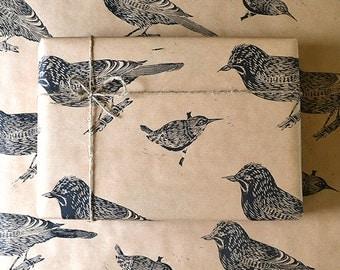 Jay and Wren Bird Lino Printed Gift Wrap - One Sheet 50 x 70cms