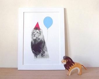 Lion Print, Party Animal Print, Boys Bedroom Decor, Lion Poster, Lion Photograph, Animal Poster, Nursery Wall Art, Balloon Print, Kids Print