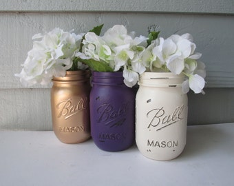 Painted and Distressed Ball Mason Jars- Gold Metalic, Dark Purple and Cream/White/Ivory-Set of 3-Flower Vases, Rustic Wedding, Centerpieces