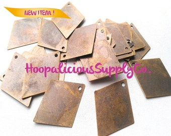 50 DIAMOND Die Cut Raw Brass Stampings w/ Top Loop.Paint them.Spray Painting. ENDLESS possibilities. Tracking included for buyers in USA.