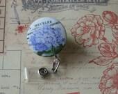 Retractable Badge Holder, Fabric Flower ID Holder; Purple Flower Badge Reel, Button, ID Clip, Badge Holder