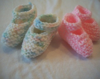 Preemie Knitted Mary Jane Baby Booties