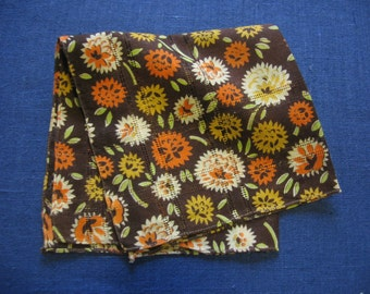 Flower Child Handkerchief Vintage Retro Floral Cotton Print Brown Orange Yellow Hankie 1960's Ladies Purse Accessory 1960s