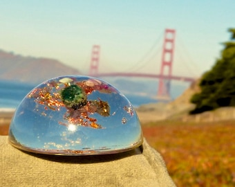 SPARKLING RUBY and EMERALD Orgone Dome. Energetic Protection from Electromagnetic Smog. Orgonite.