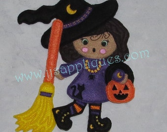 Halloween ITH Felt Doll Emily with Halloween Attire and Accessories, Set of 6 designs - 4x4,  5x7 and 6x10 hoops - Instant Download
