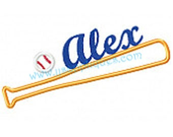 Sports Designs Baseball Design Embroidery Applique - Baseball with Personalized Name over Baseball Bat, 3 sizes