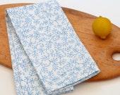 Tea Towel, Floral Dish Cloth, Handprinted Linen Kitchen Towel, 25 x 17 inches