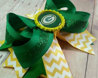 Green Bay Packers Inspired Boutique Bottle Cap Bow - Packers Bow - Green Bay Accessories
