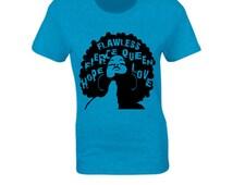 Afro Natural T-shirt Flawless,  Afro tshirt,  Natural T-shirt ,Women's Blouse, Women's Tops, Rasta T-shirt, African Art, Graphic T-shirt