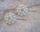 Pearl and Rhinestone Set of Two Bridal Hair Pins Wedding Hair Pins Bridal Hair Accessories Wedding Accessories Bridal Prom