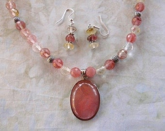17 Inch PInk and White Faceted Tourmaline Pendant Necklace with Earrings