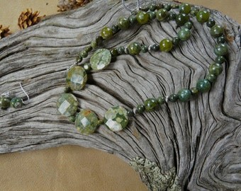 20 Inch Olive Green Rhyolite Jasper Necklace with Earrings
