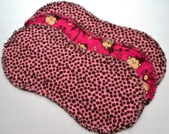 Baby girl burp cloth set of 3 : Flannel / Contoured / Baby burpcloths / Burp rags / burpclothes / burprags / monkeys / polka dots