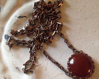 Long Carnelian Necklace Vintage Carnelian Cabochon Vintage Chain Naturally Aged Brass Setting