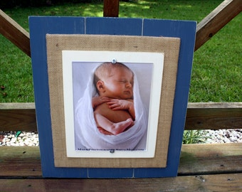 8x10 Picture Frame, Distressed Picture Frame, Burlap Frame, 8x10 Frame, Christmas Gift, Wood Plank Frame