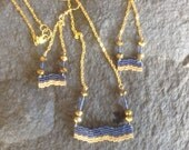 Chic Boho Native Hand beaded Geometric Chevron Navy Blue and Gold Wave necklace and earring set