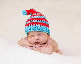 Newborn Striped Sleeping knot Stocking Cap Photo Prop 0-12 Months