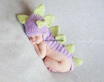 Newborn Girls Dinosaur Purple and Green Spikes Tail Crochet Hat