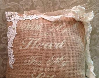 Wedding Ring Burlap Proposal Pillow