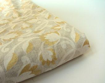 White gold white branches Varanasi cotton silk fabric nr 392 fat quarter