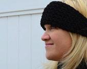 Black Headband, Ear warmer Tapered style