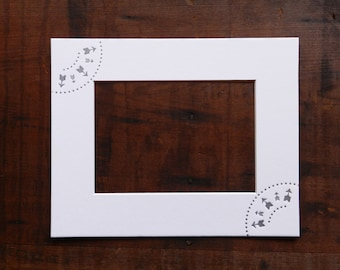 Letterpress Arrows and Dots Picture Frame Mat with optional Hand-rolled Ink