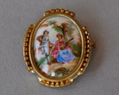 Vintage Limoges Brooch Porcelain Gold Tone Frame Courting Couple Bucolic Scenery Made in France 1950's // Vintage Signed Costume Jewelry