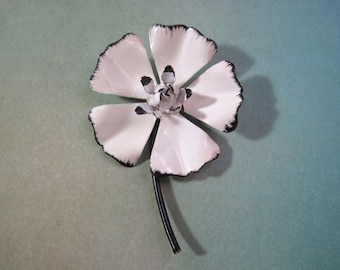 Metal Flower Brooch White with Black Accents Noir Daisy Enamel Mid Century Style Retro Vintage