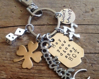 Amazing Personalized Good Luck Charm for Craps or Dice Player.  Las Vegas. Casino. Bachelor Party, keychain, Clip.