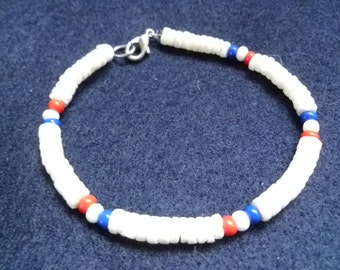 Shell Bracelet Ankelet White Blue Red Multicolored Patriotic Natural Ready to Ship