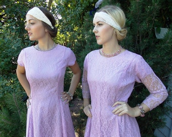 Lot 2 Vintage 50's Lace Bridesmaid Dresses Lot 'Discounted': when you buy both Lavender Short & Long Sleeve Floral Lace Retro Flapper Gowns