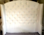 Diamond Tufted Slightly Arched Wingback Headboard in White Velvet (Queen, Extra Tall)
