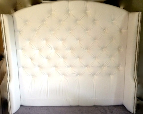 diamond tufted slightly arched wingback headboard in white. Black Bedroom Furniture Sets. Home Design Ideas