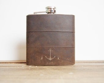 The Sailors Flask, Initialled Leather Hip flask - Anchor and initials, rum flask